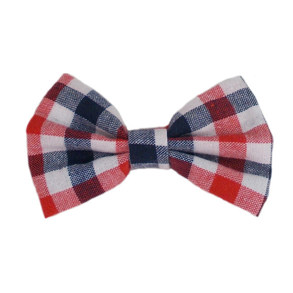 "Red, Navy, & White Check - 4"" Fabric Bow"