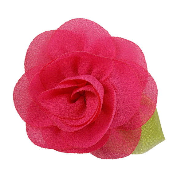 "Hot Pink - 2"" Chiffon Blossom Flower with Leaf"