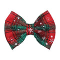 "Christmas Plaid + Snowflakes - 5"" Fabric Bow"