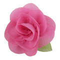 "Pink - 2"" Chiffon Blossom Flower with Leaf"