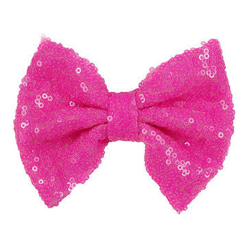 "Neon Pink - 4"" Sequin Bow"