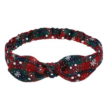 Green + Red Plaid + Snowflakes - Adult Bunny Ear Headband