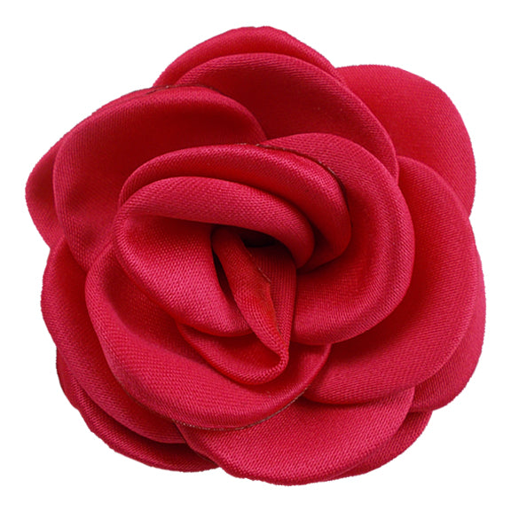 "Watermelon Red - 2.25"" Satin Petal Rose"
