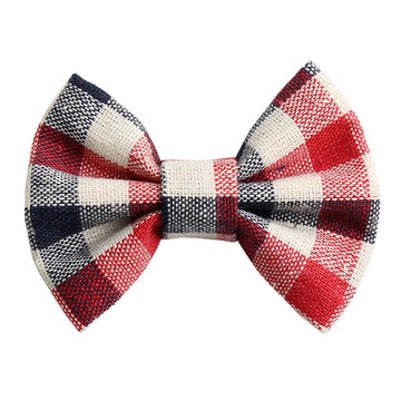"Red, Navy, & Ivory Plaid - 3"" Fabric Bow"