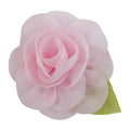 "Light Pink - 2"" Chiffon Blossom Flower with Leaf"