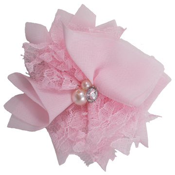"Light Pink - 3"" Chiffon Lace Pearl & Rhinestone Flower"