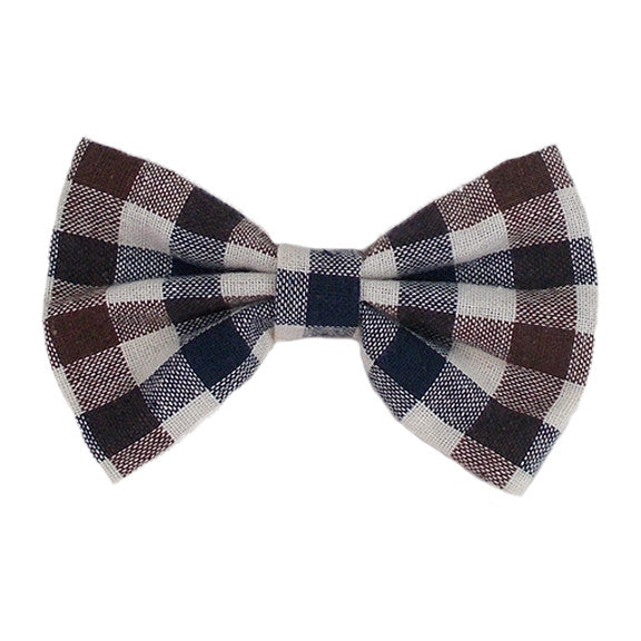 "Navy, Brown, & Ivory Check - 4"" Fabric Bow"