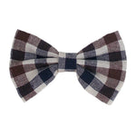 "Brown + Navy + Ivory Plaid - 4"" Fabric Bow"