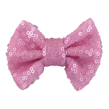 "Light Pink Matte - 4"" Sequin Bow"