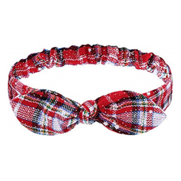 White Christmas Plaid + Snowflakes - Adult Bunny Ear Headband