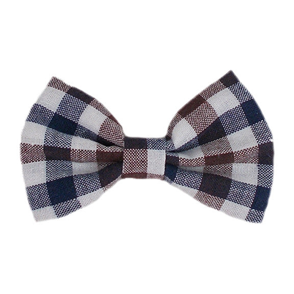 "Navy, Brown, & White Check - 4"" Fabric Bow"