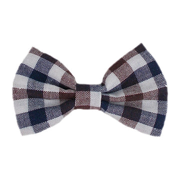 "Brown + Navy + White Plaid - 4"" Fabric Bow"
