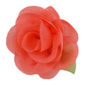 "Coral - 2"" Chiffon Blossom Flower with Leaf"