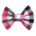 "Pink, Navy, & White Plaid - 3"" Fabric Bow"