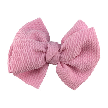 "Light Pink - 4"" Bullet Fabric Messy Bow"