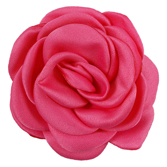 "Hot Pink - 2.25"" Satin Petal Rose"