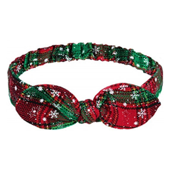 Christmas Plaid + Snowflakes - Adult Bunny Ear Headband