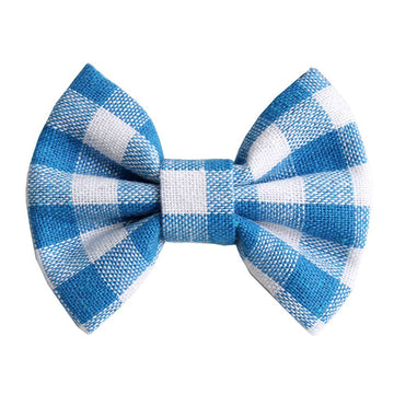 "Blue & White Plaid - 3"" Fabric Bow"
