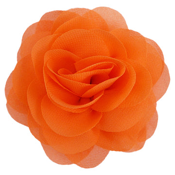 "Orange - 3"" Silky Chiffon Rose Flower"
