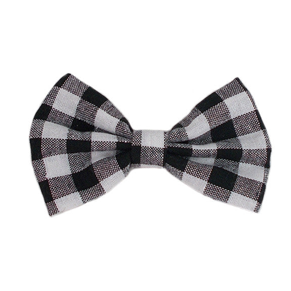 "Black & White Check - 4"" Fabric Bow"