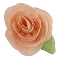 "Light Peach - 2"" Chiffon Blossom Flower with Leaf"