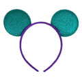 "Aquamarine + Purple - 2.75"" Glitter Mouse Ears Headband"