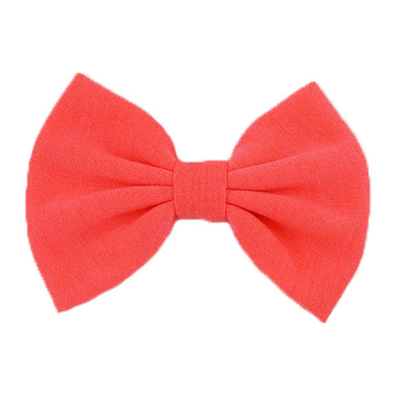 Neon Coral - XL Jersey Knit Bow