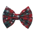 "Green + Red Plaid + Snowflakes - 5"" Fabric Bow"