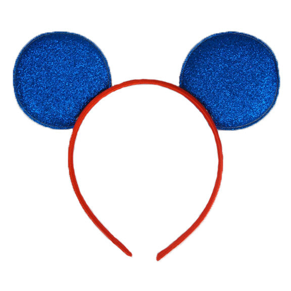 Royal Blue & Red - Glitter Mouse Ears Headband