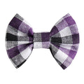 "Purple, White, & Black Plaid - 3"" Fabric Bow"