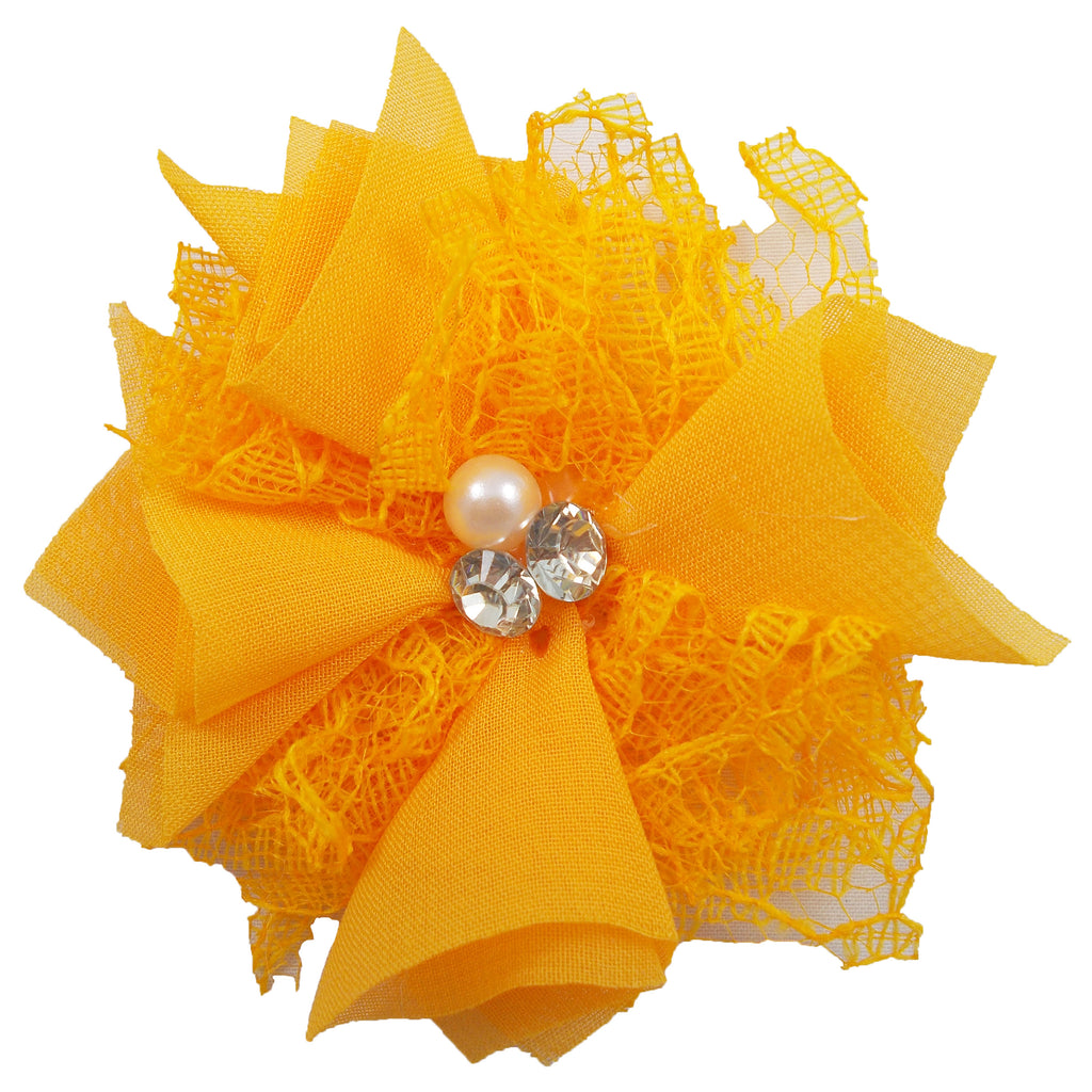 "Orange - 3"" Chiffon Lace Pearl & Rhinestone Flower"