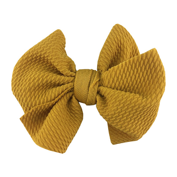 "Mustard - 4"" Bullet Fabric Messy Bow"