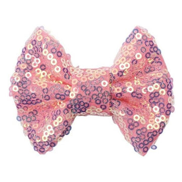 "Peachy Pink Iridescent - 4"" Sequin Bow"