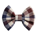 "Brown Navy, & Ivory Plaid - 3"" Fabric Bow"