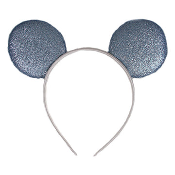 "Cinderella Blue + White - 2.75"" Glitter Mouse Ears Headband"