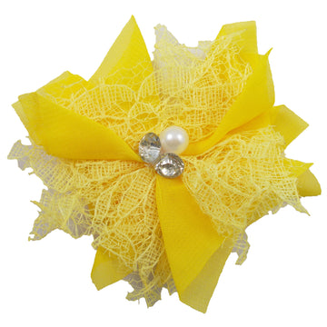"Yellow - 3"" Chiffon Lace Pearl & Rhinestone Flower"