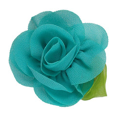 "Aquamarine - 2"" Chiffon Blossom Flower with Leaf"