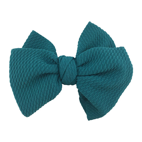 "Teal - 4"" Bullet Fabric Messy Bow"
