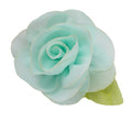 "Sea Foam - 2"" Chiffon Blossom Flower with Leaf"
