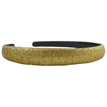 Gold - 13mm Glitter Lined Headband with Teeth