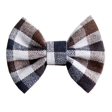"Brown Navy, & White Plaid - 3"" Fabric Bow"
