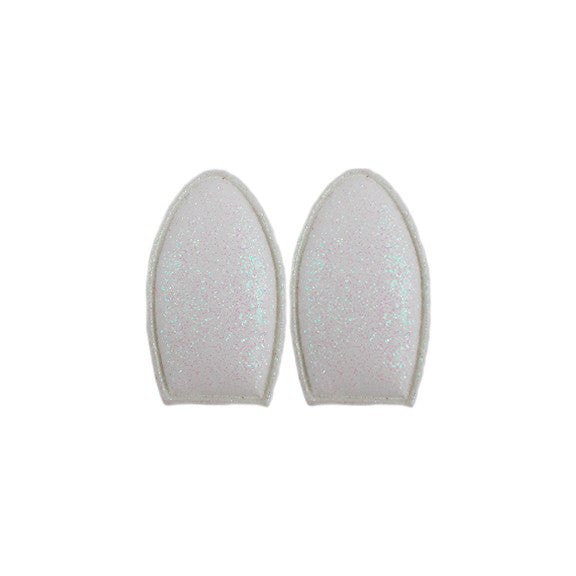 White Glitter - Padded Bunny Ears