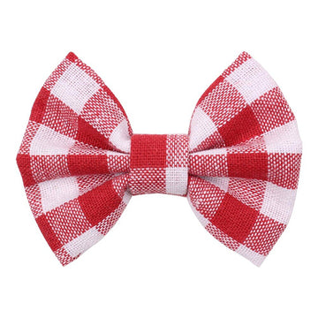"Red & White Plaid - 3"" Fabric Bow"