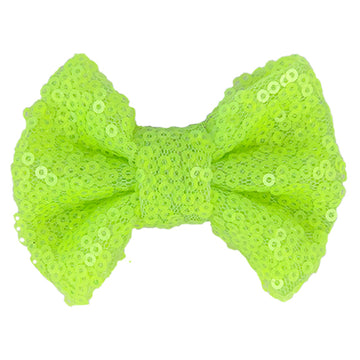 "Neon Yellow - 4"" Sequin Bow"