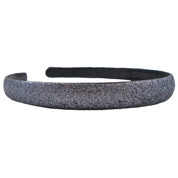 Gray - 13mm Glitter Lined Headband with Teeth