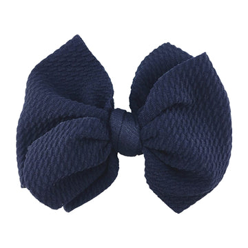 "Navy Blue - 4"" Bullet Fabric Messy Bow"