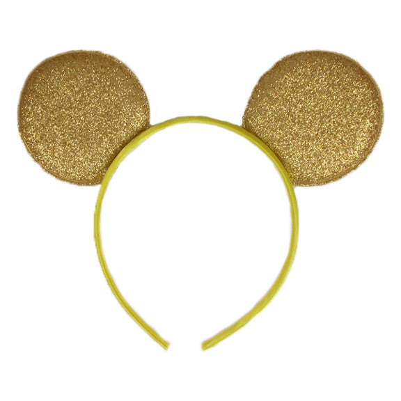 "Gold - 2.75"" Glitter Mouse Ears Headband"