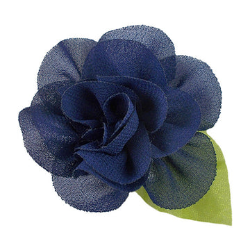 "Navy Blue - 2"" Chiffon Blossom Flower with Leaf"