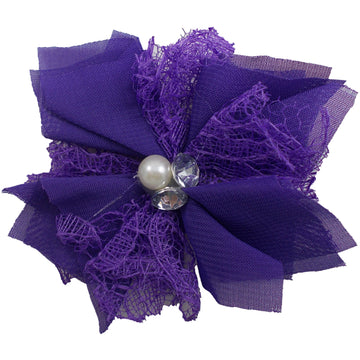 "Purple - 3"" Chiffon Lace Pearl & Rhinestone Flower"