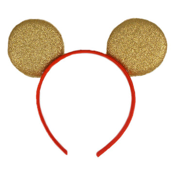 "Gold + Red - 2.75"" Glitter Mouse Ears Headband"
